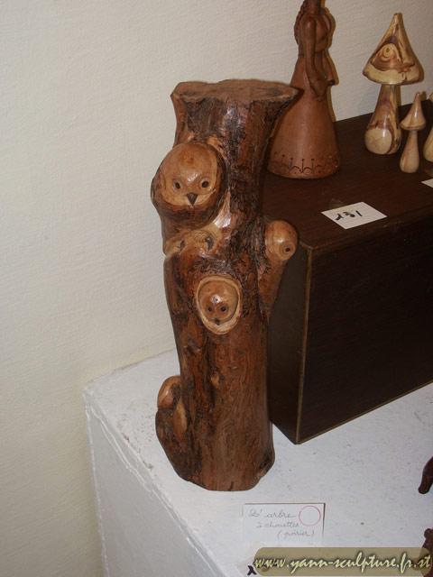 Arbre à Chouettes ; Sculpture en Poirier.