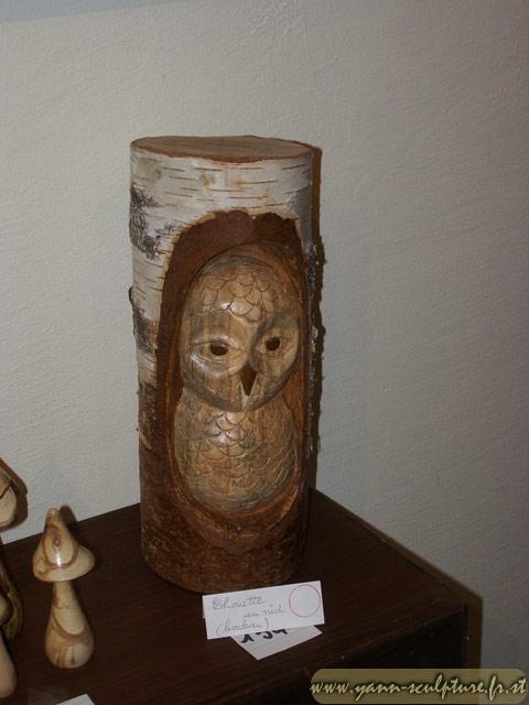 Chouette au nid ; Sculpture en Bouleau.