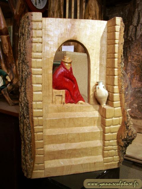 L'étape ; Sculpture en Frêne.